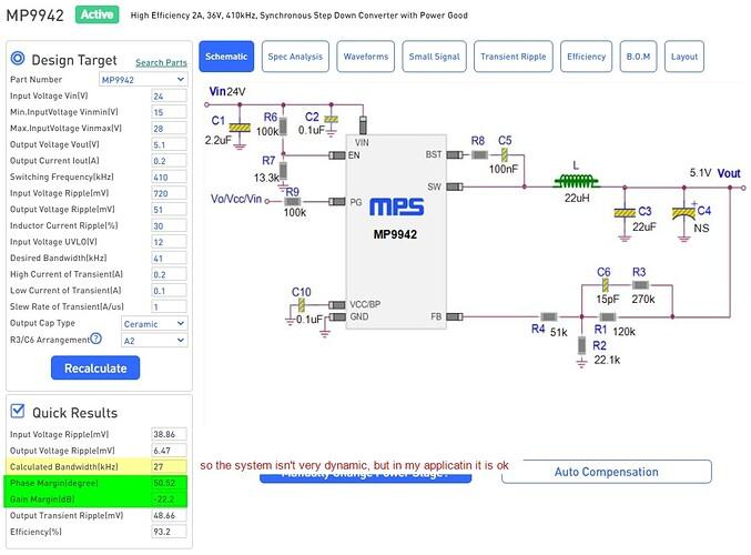 DC DC Designer Online - MP9942_R1-120k_R2-22.1k_R4-51k_C6-15p_R3-270k